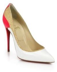 Zapatos de tacón de cuero en blanco y rojo