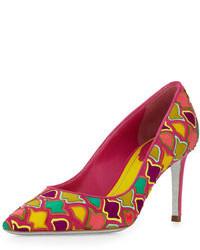 Zapatos de tacón de cuero en multicolor