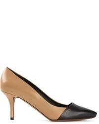 Zapatos de tacón de cuero en negro y marrón claro de Proenza Schouler