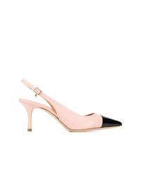 Zapatos de tacón de cuero en negro y marrón claro de Tory Burch