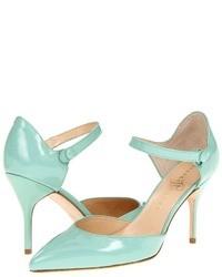 Zapatos de tacón de cuero en turquesa