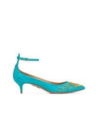 Zapatos de tacón de cuero en turquesa de Aquazzura