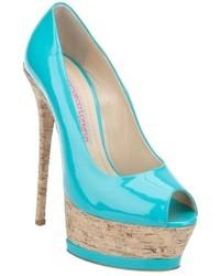 Zapatos de tacón de cuero en turquesa de Gianmarco Lorenzi