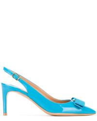 Zapatos de tacón de cuero en turquesa de Salvatore Ferragamo