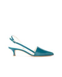 Zapatos de tacón de cuero en turquesa de Tibi