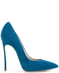 Zapatos de Tacón de Cuero en Verde Azulado de Casadei