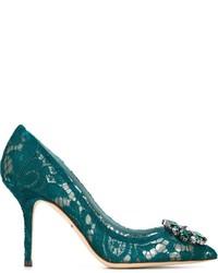 Zapatos de Tacón de Cuero en Verde Azulado de Dolce & Gabbana