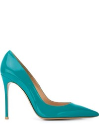 Zapatos de Tacón de Cuero en Verde Azulado de Gianvito Rossi