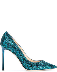 Zapatos de Tacón de Cuero en Verde Azulado de Jimmy Choo