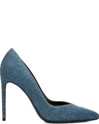 Zapatos de Tacón de Cuero en Verde Azulado de Saint Laurent