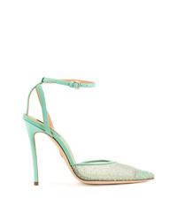 Zapatos de tacón de cuero en verde menta de Dsquared2