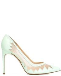 Zapatos de tacón de cuero en verde menta