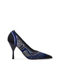 Zapatos de tacón de cuero estampados azul marino de Prada