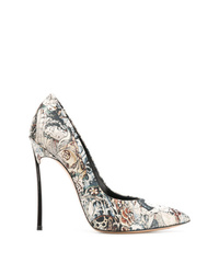 Zapatos de tacón de cuero estampados en multicolor de Casadei