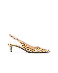 Zapatos de tacón de cuero estampados en multicolor de Prada