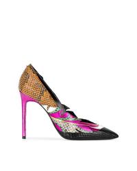 Zapatos de tacón de cuero estampados en multicolor de Saint Laurent