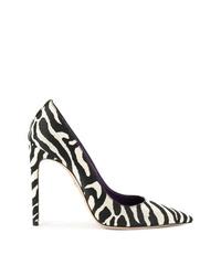 Zapatos de tacón de cuero estampados en negro y blanco de Dsquared2