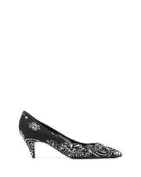 Zapatos de tacón de cuero estampados en negro y blanco de Saint Laurent
