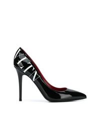 Zapatos de tacón de cuero estampados en negro y blanco de Valentino
