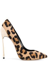Zapatos de Tacón de Cuero Estampados Marrón Claro de Casadei