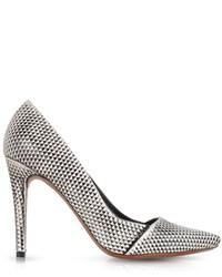 Zapatos de Tacón de Cuero Estampados Negros y Blancos