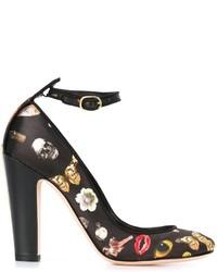 Zapatos de Tacón de Cuero Estampados Negros de Alexander McQueen