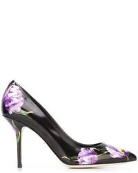 Zapatos de tacón de cuero estampados negros de Dolce & Gabbana