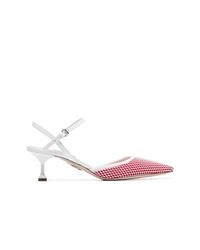 Zapatos de tacón de cuero estampados rojos de Miu Miu