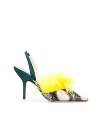 Zapatos de Tacón de Cuero Estampados Verdes de ATTICO