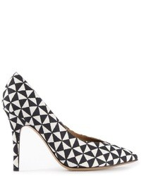 Zapatos de Tacón de Cuero Geométricos Blancos y Negros de Isabel Marant