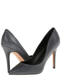 Zapatos de Tacón de Cuero Gris Oscuro