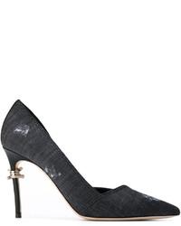 Zapatos de Tacón de Cuero Gris Oscuro de Dsquared2