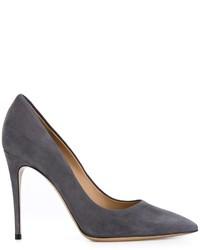 Zapatos de Tacón de Cuero Gris Oscuro de Salvatore Ferragamo