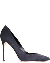 Zapatos de Tacón de Cuero Gris Oscuro de Sergio Rossi