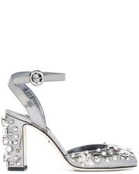 Zapatos de Tacón de Cuero Grises de Dolce & Gabbana