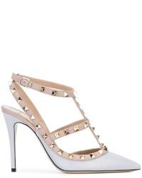 Zapatos de Tacón de Cuero Grises de Valentino Garavani