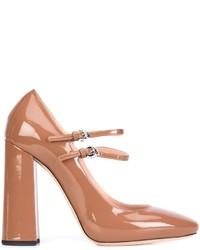 Zapatos de Tacón de Cuero Gruesos en Tabaco de Rochas