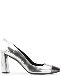 Zapatos de Tacón de Cuero Gruesos Grises de Casadei