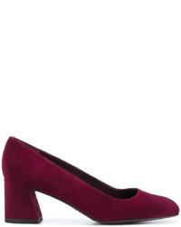 Zapatos de tacón de cuero gruesos morado oscuro de Stuart Weitzman