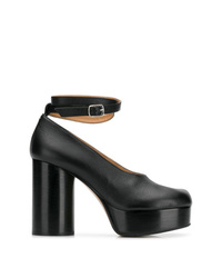Zapatos de tacón de cuero gruesos negros de Maison Margiela