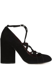 Zapatos de tacón de cuero gruesos negros de Marc Jacobs