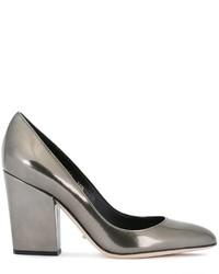Zapatos de tacón de cuero gruesos plateados de Sergio Rossi