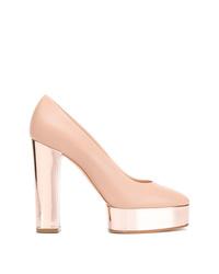 Zapatos de tacón de cuero gruesos rosados de Casadei