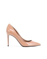 Zapatos de tacón de cuero marrón claro de Dolce & Gabbana