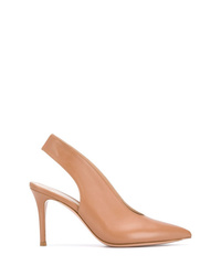 Zapatos de tacón de cuero marrón claro de Gianvito Rossi