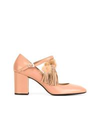Zapatos de Tacón de Cuero Marrón Claro de N°21