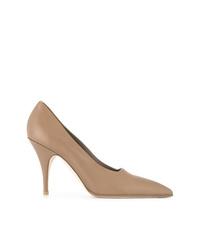 Zapatos de tacón de cuero marrón claro de Victoria Beckham