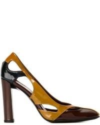 Zapatos de Tacón de Cuero Marrónes de Prada