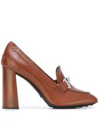 Zapatos de tacón de cuero marrónes de Tod's