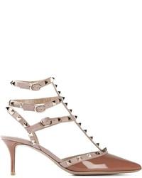 Zapatos de tacón de cuero marrónes de Valentino Garavani